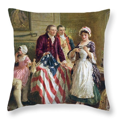 Betsy Ross Throw Pillow featuring the painting Vintage Illustration Of George Washington Watching Betsy Ross Sew The American Flag by American School