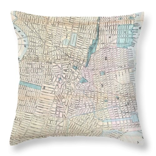 Jersey City Throw Pillow featuring the drawing Vintage Map Of Jersey City And Hoboken by CartographyAssociates