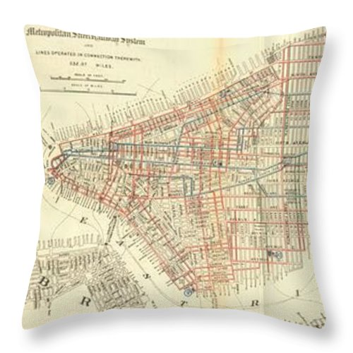Nyc Railways Throw Pillow featuring the drawing Vintage Map Of The Nyc Railways by CartographyAssociates