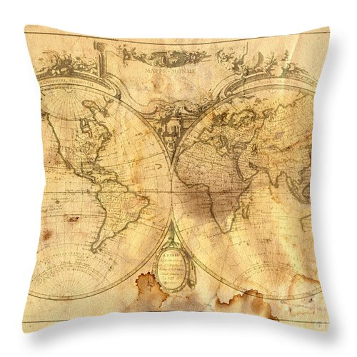 Abstract Throw Pillow featuring the digital art Vintage Map Of The World by Michal Boubin