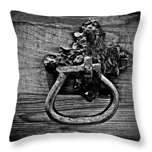 Handle Throw Pillow featuring the photograph Vintage Metal Handle by Perry Webster