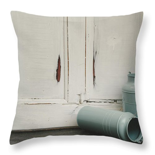Milk Throw Pillow featuring the photograph Vintage Milk Canisters. by Jelena Jovanovic