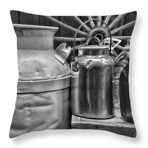 Paul Ward Throw Pillow featuring the photograph Vintage Milk In Black And White by Paul Ward