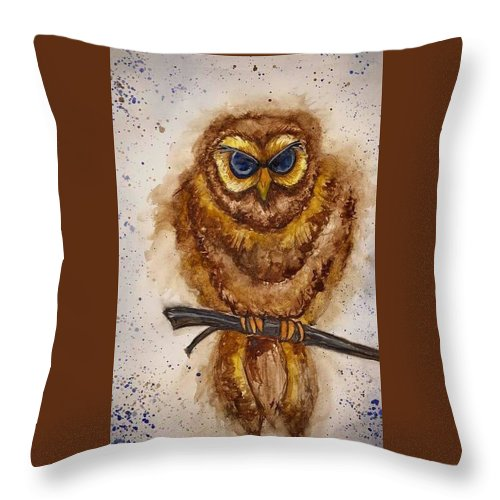 Throw Pillow featuring the painting Vintage Owl by Tanya Reynolds