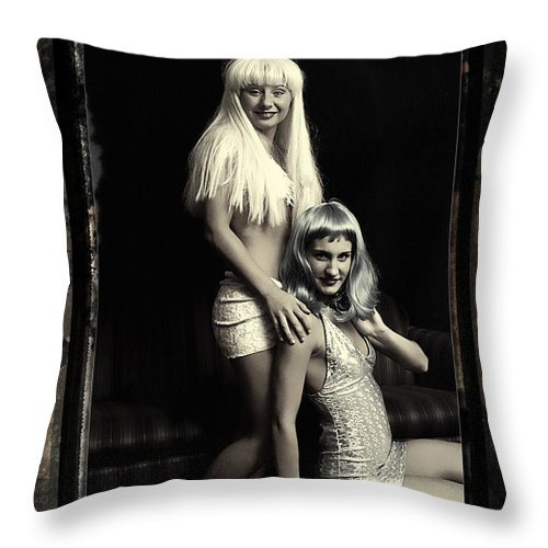 Clay Throw Pillow featuring the photograph Vintage Party Girls by Clayton Bruster