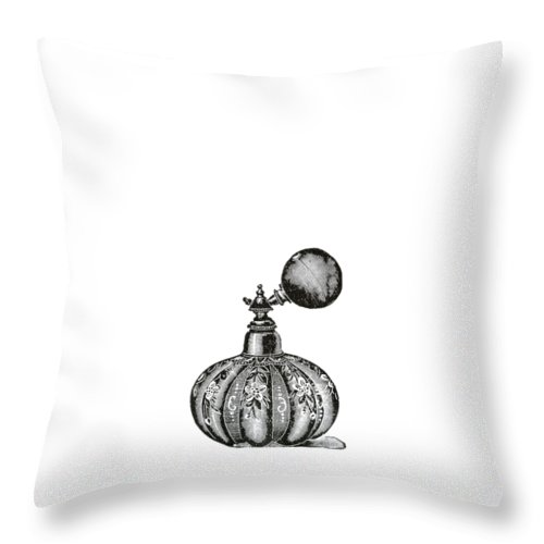 Drawing Throw Pillow featuring the digital art Vintage Perfume Bottle Phone Case by Edward Fielding