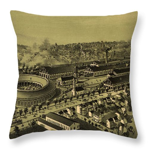 Altoona Throw Pillow featuring the drawing Vintage Pictorial Map Of Altoona Pa  by CartographyAssociates