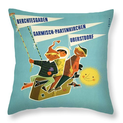 Vintage Poster Throw Pillow featuring the painting Vintage Poster - Bavarian Alps by Vintage Images