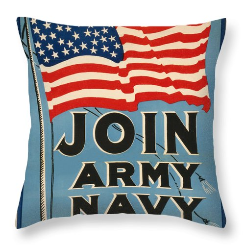 Vintage Throw Pillow featuring the painting Vintage Recruitment Poster by Vintage Pix