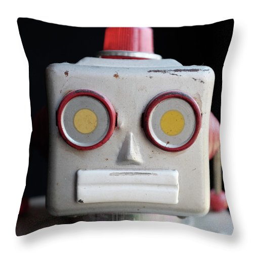 Robot Throw Pillow featuring the photograph Vintage Robot Square by Edward Fielding