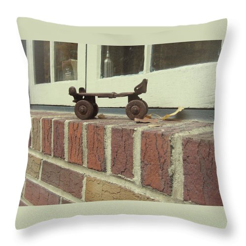 Brick Throw Pillow featuring the photograph Vintage Roller Skate by JAMART Photography