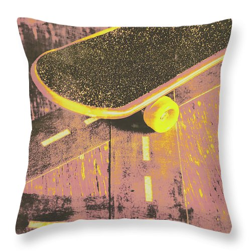 Skate Throw Pillow featuring the photograph Vintage Skateboard Ruling The Road by Jorgo Photography - Wall Art Gallery