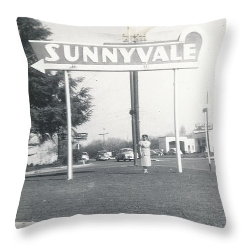 Digitized Throw Pillow featuring the photograph Vintage Sunnyvale Sign by Alan Espasandin