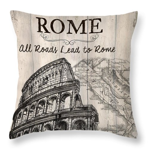 Rome Throw Pillow featuring the painting Vintage Travel Poster by Debbie DeWitt