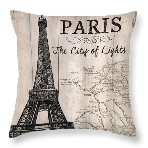Paris Throw Pillow featuring the painting Vintage Travel Poster Paris by Debbie DeWitt