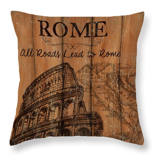 Rome Throw Pillow featuring the painting Vintage Travel Rome by Debbie DeWitt