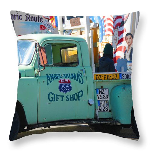 Gift Shop Throw Pillow featuring the photograph Vintage Truck with Elvis on Historic Route 66 by Victoria Oldham