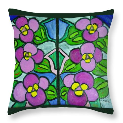 Violets Throw Pillow featuring the painting Vintage Violets by Laurie Morgan