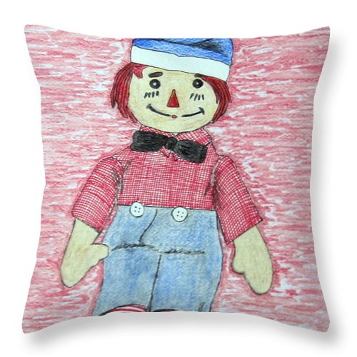 Vintage Throw Pillow featuring the painting Vintage Volland Raggedy Andy Cloth Doll by Kathy Marrs Chandler