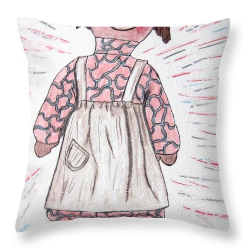 Vintage Throw Pillow featuring the painting Vintage Volland Raggedy Ann Cloth Doll by Kathy Marrs Chandler