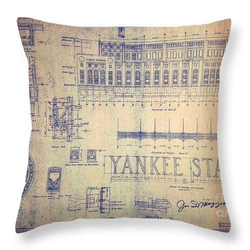 Joe Dimaggio Throw Pillow featuring the drawing Vintage Yankee Stadium Blueprint by Peter Ogden Gallery