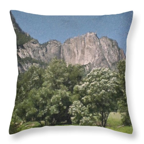 Landscape Throw Pillow featuring the painting Vintage Yosemite by Teresa Mucha