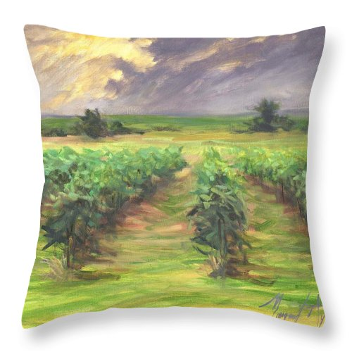 Vinyard Throw Pillow featuring the painting Vinyard by Margaret Aycock