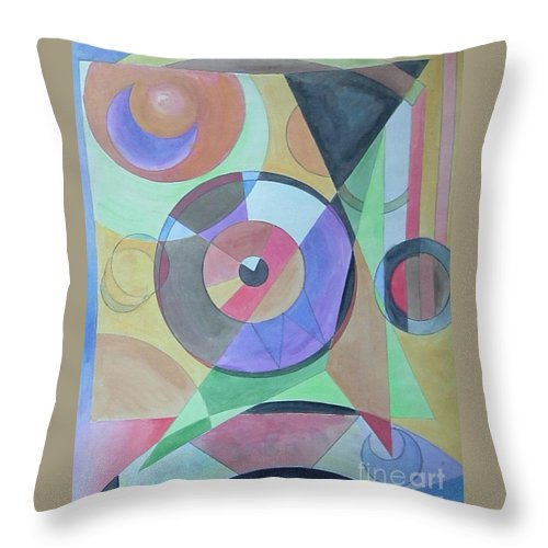 Abstract Throw Pillow featuring the painting Vinyl Eye by Melina Mel P