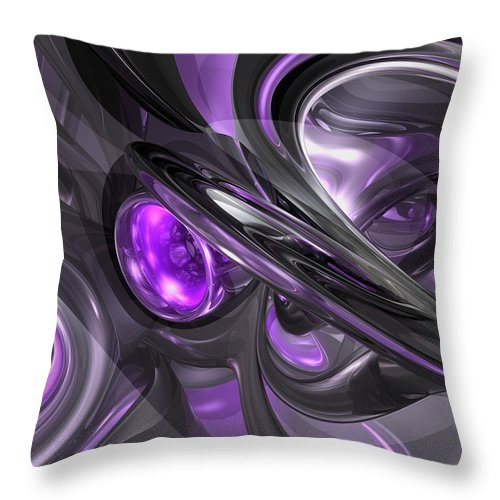3d Throw Pillow featuring the digital art Violaceous Abstract by Alexander Butler