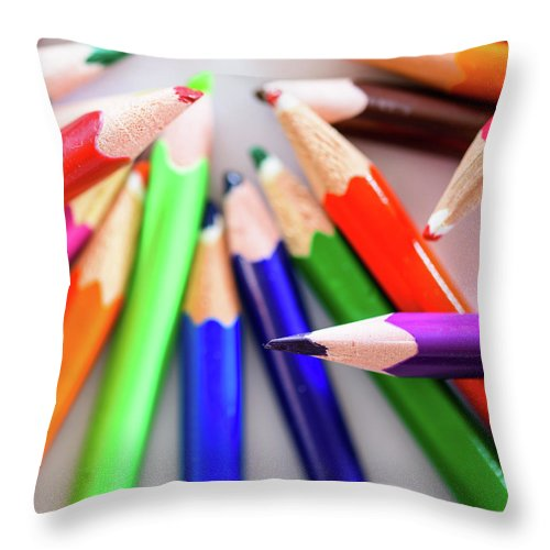 Background Throw Pillow featuring the photograph Violet. Colored Pencils by Nicola Simeoni