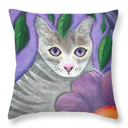 Violet Purple Lavender Eyes Kitty Cat Flower Floral Tabby Grey Throw Pillow featuring the painting Violet Eyed Cat by Monica Resinger