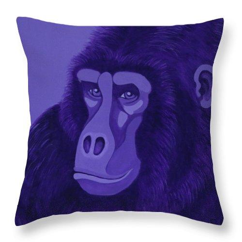 Violet Gorilla Throw Pillow