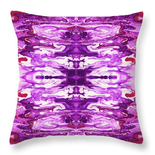 Abstract Throw Pillow featuring the painting Violet Groove- Art By Linda Woods by Linda Woods