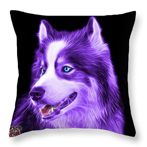 Siberian Husky Throw Pillow featuring the painting Violet Modern Siberian Husky Dog Art - 6024 - Bb by James Ahn