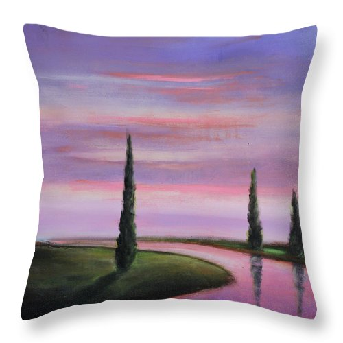 Purple Throw Pillow featuring the painting Violet Sky by Toni Grote