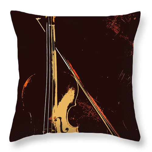 Music Throw Pillow featuring the photograph Violin And Bow by Steve Somerville