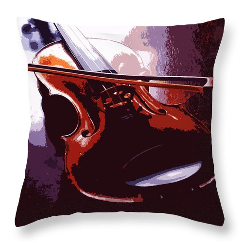 Music Throw Pillow featuring the photograph Violin Artistic by Steve Somerville
