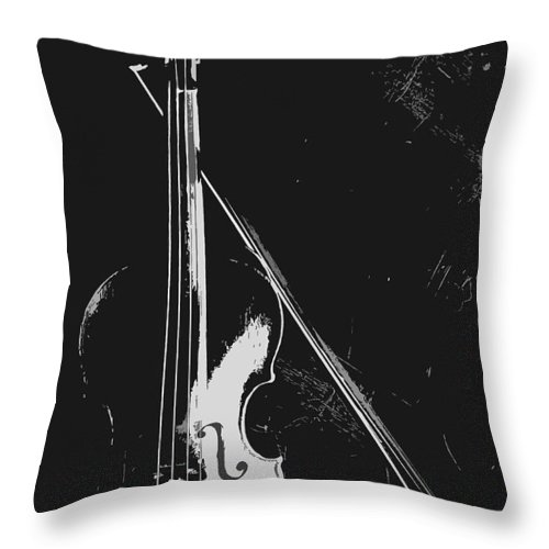 Music Throw Pillow featuring the photograph Violin Bow Black And White by Steve Somerville