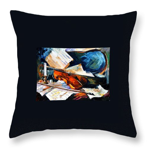 Music Throw Pillow featuring the painting Violin by Leonid Afremov