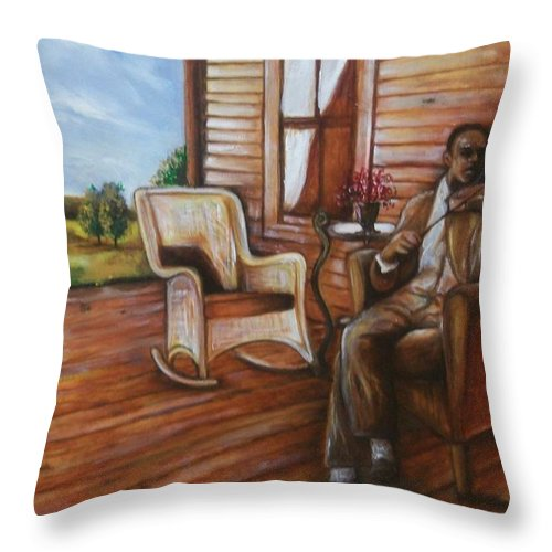 Emery Franklin Throw Pillow featuring the painting Violin Man by Emery Franklin