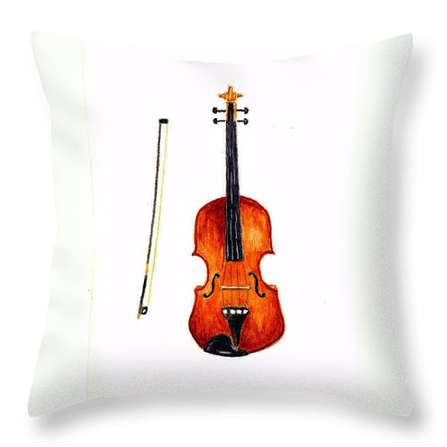 Music Throw Pillow featuring the painting Violin by Michael Vigliotti