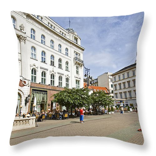Violin Throw Pillow featuring the photograph Violin Player by Madeline Ellis