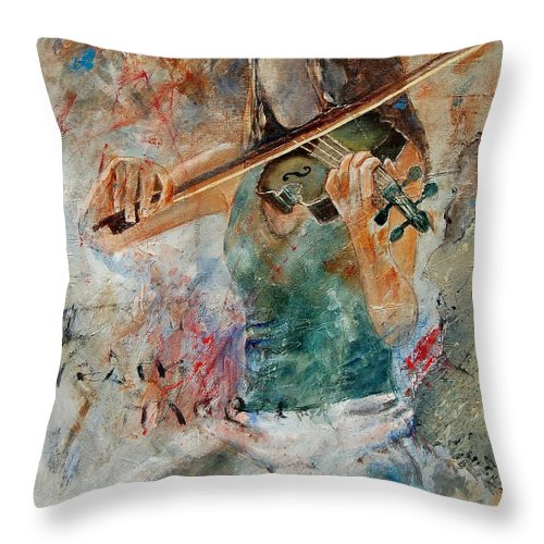 Music Throw Pillow featuring the painting Violinist 56 by Pol Ledent