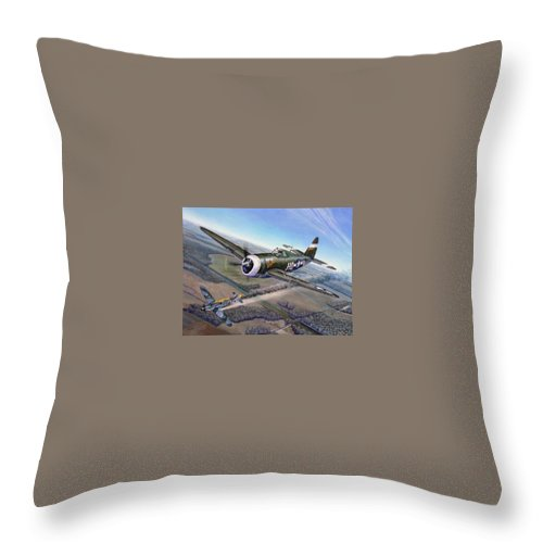 The 352nd Fighter Groups First Ace Shoots Down The German Ace Klaus Mietush On March 8th 1944 Throw Pillow featuring the painting Virgil Meroney downs Klaus Mietush by Scott Robertson