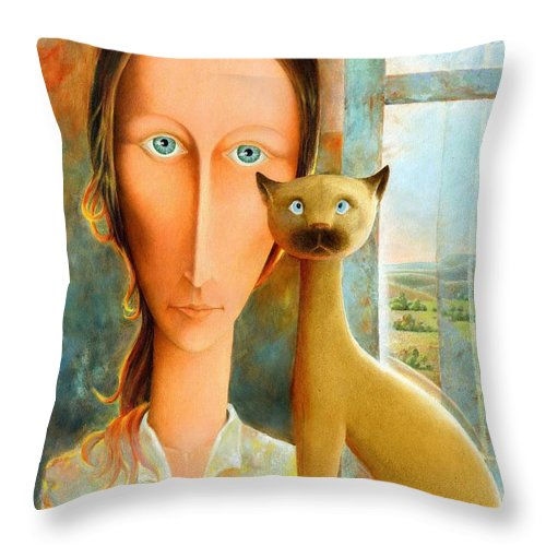 Giuseppe Mariotti Throw Pillow featuring the painting Virginia at the Window by Giuseppe Mariotti