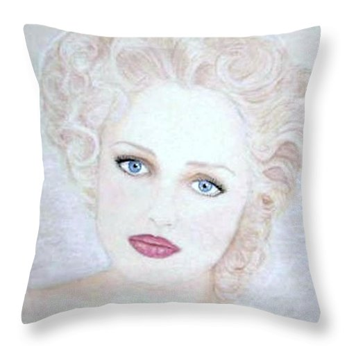 Face Throw Pillow featuring the drawing Virginia by Scarlett Royal