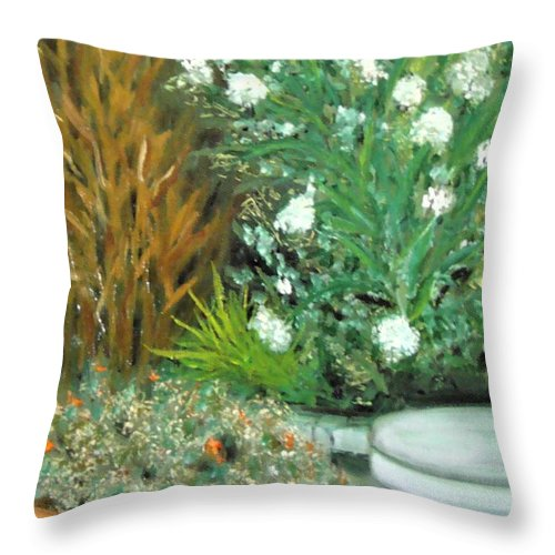 Plein Air Throw Pillow featuring the painting Virginia's Garden by Laurie Morgan