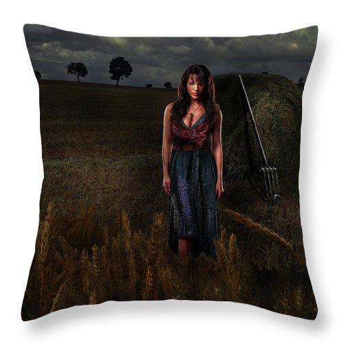 Virgo Throw Pillow featuring the digital art Virgo by Virginia Palomeque