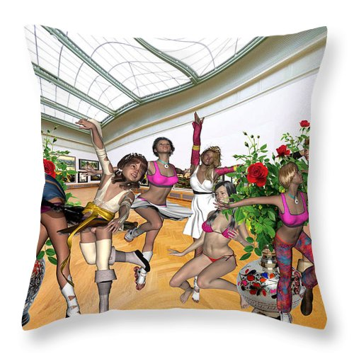 Modern Painting Throw Pillow featuring the mixed media Virtual Exhibition - Dance Of Opening The Exhibition by Pemaro