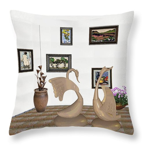 Pemaro Throw Pillow featuring the mixed media virtual exhibition_Statue of swans 22 by Pemaro